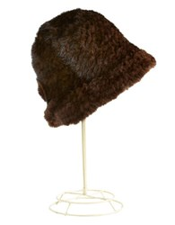 Surell Mink Fur Cloche Hat Brown