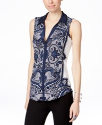 Inc International Concepts Sleeveless Zipper Blouse Only At Macy's Scarf Paisley