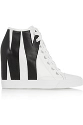Dkny Grommet Appliqued Leather Wedge Sneakers White