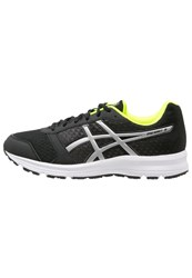 Asics Patriot 8 Cushioned Running Shoes Black Silver Safety Yellow