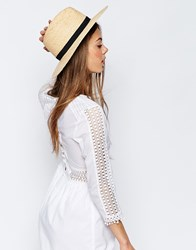 Asos Natural Straw Fedora Hat With Bow Trim Natural Brown
