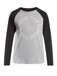 The Upside Logo Printed Raglan Sleeve Performance Top Grey Multi