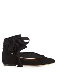 Chloe Harper Suede Lace Up Ballet Flats Black