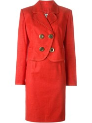 Christian Dior Vintage Jacket And Skirt Suit Red