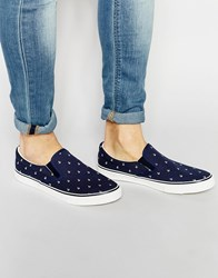 Brave Soul Slip On Plimsolls With Anchor Print Navy Blue
