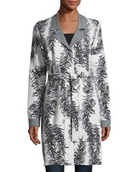 Neiman Marcus Branch Print Belted Cardigan Gray