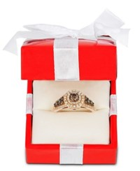 Le Vian Chocolatier Chocolate Diamond And White Diamond Halo Ring 3 4 Ct. T.W. In 14K Rose Gold