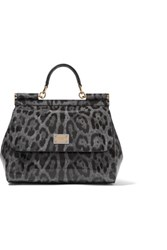 Dolce And Gabbana Leopard Print Glossed Leather Shoulder Bag Leopard Print