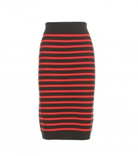 Marc By Marc Jacobs Jacquelyn Striped Wool Pencil Skirt Black