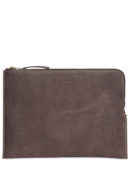 Soft Leather And Neoprene Zipped Pc Case Dark Dust