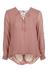 Glamorous Lace Up Blouse By Petites Pink