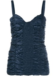 J.W.Anderson J.W. Anderson Smocked Ruched Bustier Top Blue