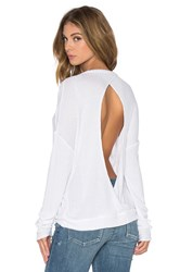 Chaser Thermal Open Back Long Sleeve Pullover White