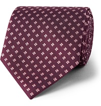 Dunhill Floral Silk Jacquard Tie Burgundy
