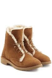 Ugg Australia Suede Lace Up Boots With Searling Lining Brown