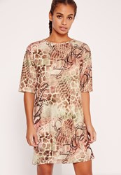 Missguided Snake Print Oversized T Shirt Dress Multi
