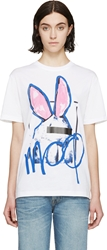 Mcq By Alexander Mcqueen Blue And Pink Bunny Boyfriend T Shirt
