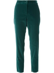 Etro Cropped Velvet Trousers Green
