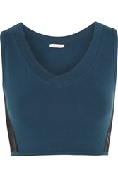 Skin Stretch Pima Cotton And Tulle Bra Top Storm Blue