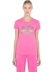 Juicy Couture Crystal Logo Cotton Jersey T Shirt