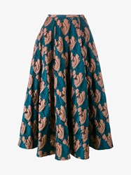 Emilia Wickstead Eleanor Fil Coupe Midi Skirt Multi Coloured Blue Coral