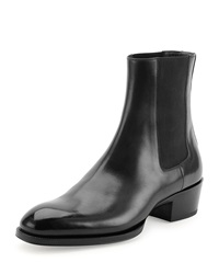 Tom Ford Chelsea Boot With Western Heel Black