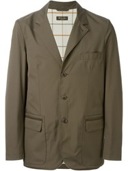 Loro Piana Leather Trim Blazer Grey