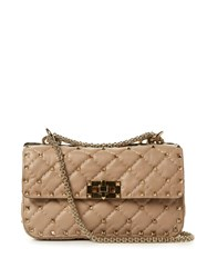 Valentino Rockstud Mini Quilted Leather Cross Body Bag Nude