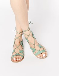 Asos For Love Leather Lace Up Sandals Mint Green