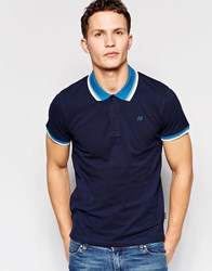Jack And Jones Jack And Jones Pique Polo Shirt With Retro Contrast Collar Navy