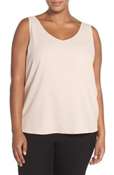 Plus Size Women's Halogen Double V Neck Shell Pink Peach