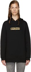 Palm Angels Black And Gold Logo Hoodie