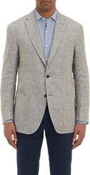 Luciano Barbera Linen Two Button Sportcoat Grey Size Extra Large
