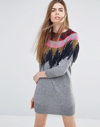 Vanessa Bruno Ath Athe Knitted Sweater Dress With Fringing Gray