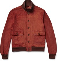 Valstarino Unlined Suede Bomber Jacket Red