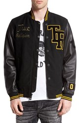 True Religion Men's Brand Jeans 'Collegiate' Twill And Leather Jacket