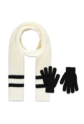 Forever 21 Varsity Striped Scarf And Gloves Set Cream Black
