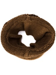 Isabel Benenato Knitted Scarf Brown