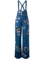 Valentino Butterfly Embroidered Dungarees Blue