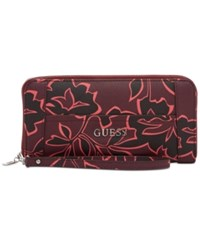 Guess Delaney Large Zip Around Wallet Bordeaux Multi