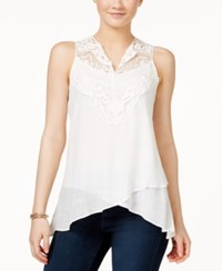 Amy Byer Bcx Juniors' Sleeveless Crocheted Asymmetrical Hem Blouse White