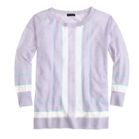 J.Crew Collection Featherweight Cashmere Vertical Stripe Sweater Lavender Snow Pond