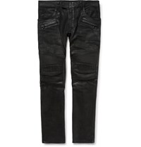 Balmain Skinny Fit Waxed Denim Jeans Black