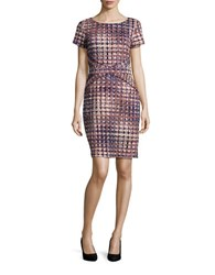Miscellaneous Plus Abstract Short Sleeve Sheath Dress Multi Colored