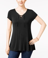 Pink Rose Juniors' Lace Up Tunic Top Black