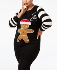 It's Our Time Trendy Plus Size Snowman Holiday Sweater Black