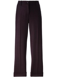 Alberto Biani Striped Crop Trousers Red
