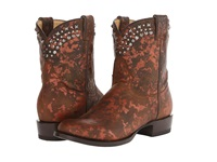 Stetson Metallic Splatter Round Toe Ankle Boot Brown Cowboy Boots