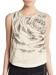 Haute Hippie Embellished Crop Top Antique Ivory