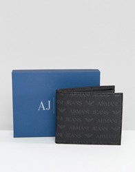 Armani Jeans All Over Logo Wallet Black